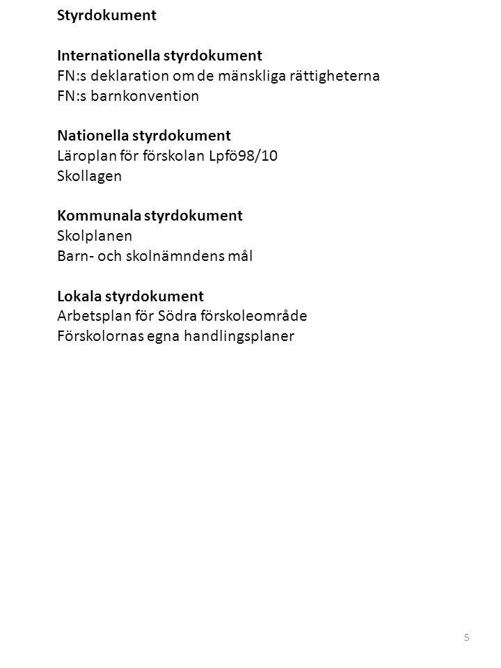 Styrdokument Internationella styrdokument FN:s deklaration om de mänskliga rättigheterna FN:s barnkonvention Nationella styrdokument Läroplan för förskolan Lpfö98/10 Skollagen Kommunala styrdokument Skolplanen Barn- och skolnämndens mål Lokala styrdokument Arbetsplan för Södra förskoleområde Förskolornas egna handlingsplaner 5