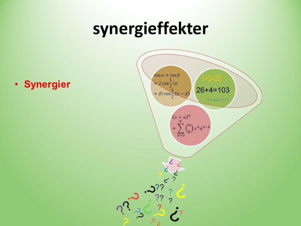 synergieffekter 3+3=29 26+4=103 •Synergier 71+44=1111 ? ? ? ???????? ? ? ? ? ? ? ? ? ? ? ? ? ?? ?