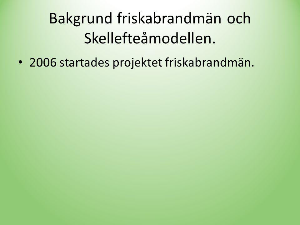 Bakgrund friskabrandmän och Skellefteåmodellen. • 2006 startades projektet friskabrandmän.