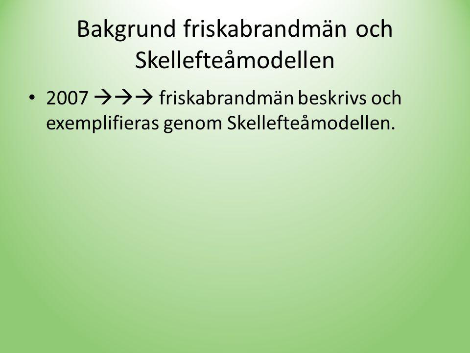 Bakgrund friskabrandmän och Skellefteåmodellen • 2007  friskabrandmän beskrivs och exemplifieras genom Skellefteåmodellen.