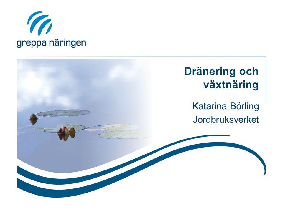 Dränering och växtnäring Katarina Börling Jordbruksverket