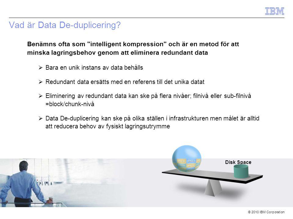 © 2010 IBM Corporation Vad är Data De-duplicering (forts.).