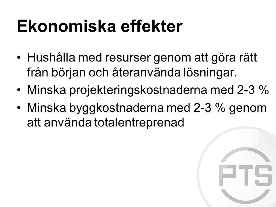Ekonomiska effekter •Hushålla med resurser genom att göra rätt från början och återanvända lösningar. •Minska projekteringskostnaderna med 2-3 % •Mins