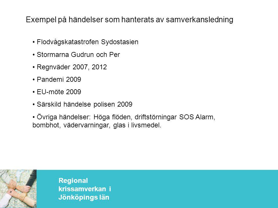 Regional krissamverkan i Jönköpings län Exempel på händelser som hanterats av samverkansledning • Flodvågskatastrofen Sydostasien • Stormarna Gudrun och Per • Regnväder 2007, 2012 • Pandemi 2009 • EU-möte 2009 • Särskild händelse polisen 2009 • Övriga händelser: Höga flöden, driftstörningar SOS Alarm, bombhot, vädervarningar, glas i livsmedel.