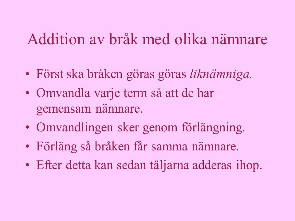 Svårare addition Olika nämnare 2 = 3 + 1 5 2 = 3 + 1 5.5.5.5.5.3.3.3.3 10 = 15 + 3 13 15 Förläng!