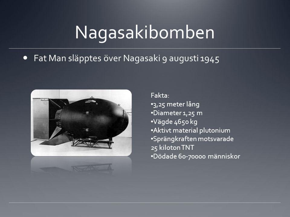 Nagasakibomben  Fat Man släpptes över Nagasaki 9 augusti 1945 Fakta: • 3,25 meter lång • Diameter 1,25 m • Vägde 4650 kg • Aktivt material plutonium