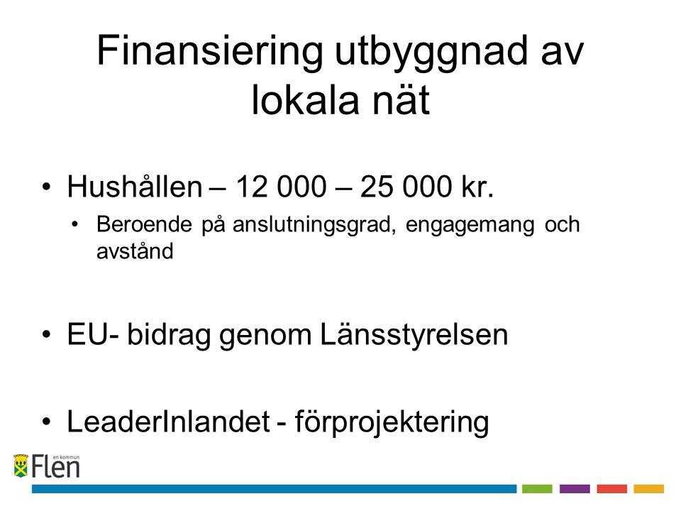 Finansiering utbyggnad av lokala nät •Hushållen – 12 000 – 25 000 kr. •Beroende på anslutningsgrad, engagemang och avstånd •EU- bidrag genom Länsstyre