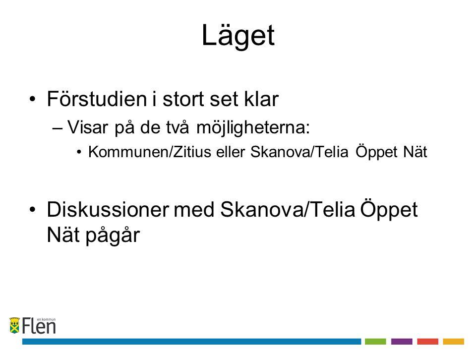 Läget •Förstudien i stort set klar –Visar på de två möjligheterna: •Kommunen/Zitius eller Skanova/Telia Öppet Nät •Diskussioner med Skanova/Telia Öppe