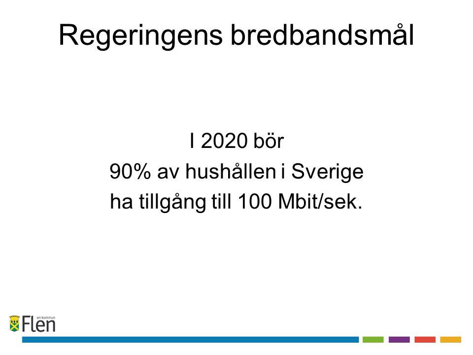 Regeringens bredbandsmål I 2020 bör 90% av hushållen i Sverige ha tillgång till 100 Mbit/sek.