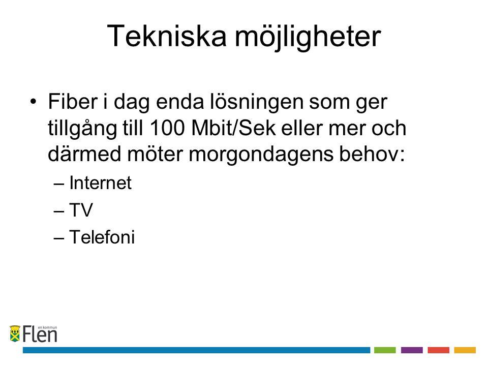 Tekniska möjligheter •Fiber i dag enda lösningen som ger tillgång till 100 Mbit/Sek eller mer och därmed möter morgondagens behov: –Internet –TV –Tele