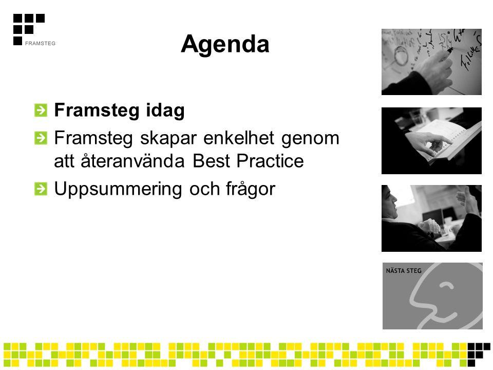 Agenda Framsteg idag Framsteg skapar enkelhet genom att återanvända Best Practice Uppsummering och frågor
