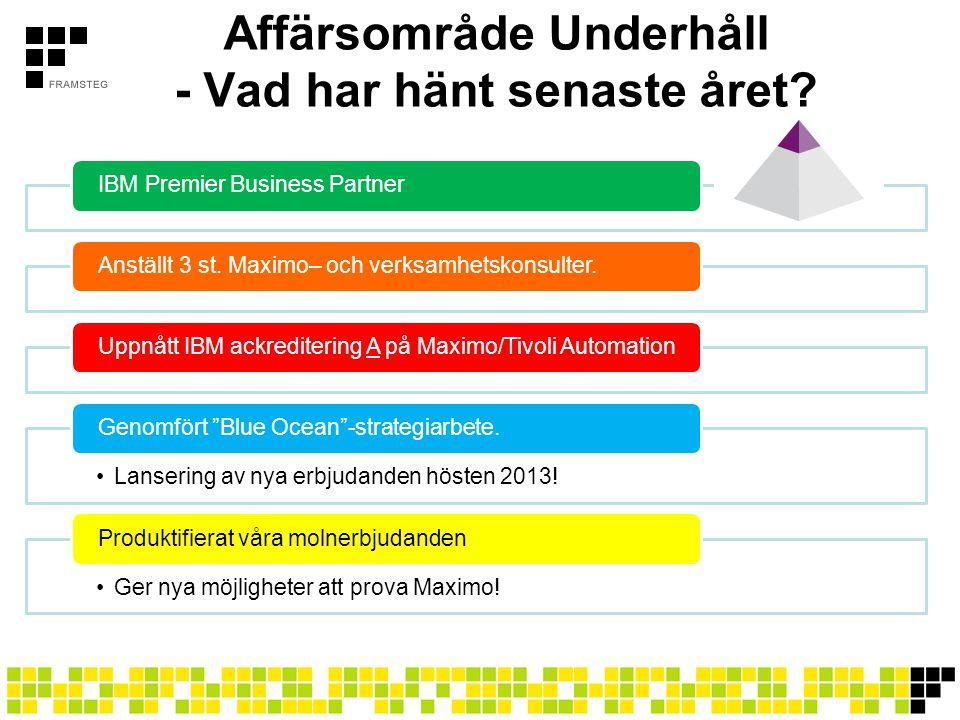 Framsteg Democenter •Alltid senaste versionen av Maximo •Abonnera per månad •Nollställning av data varje vecka •Svenska, Engelska och Tyska •Starta redan samma dag som ni beställer.