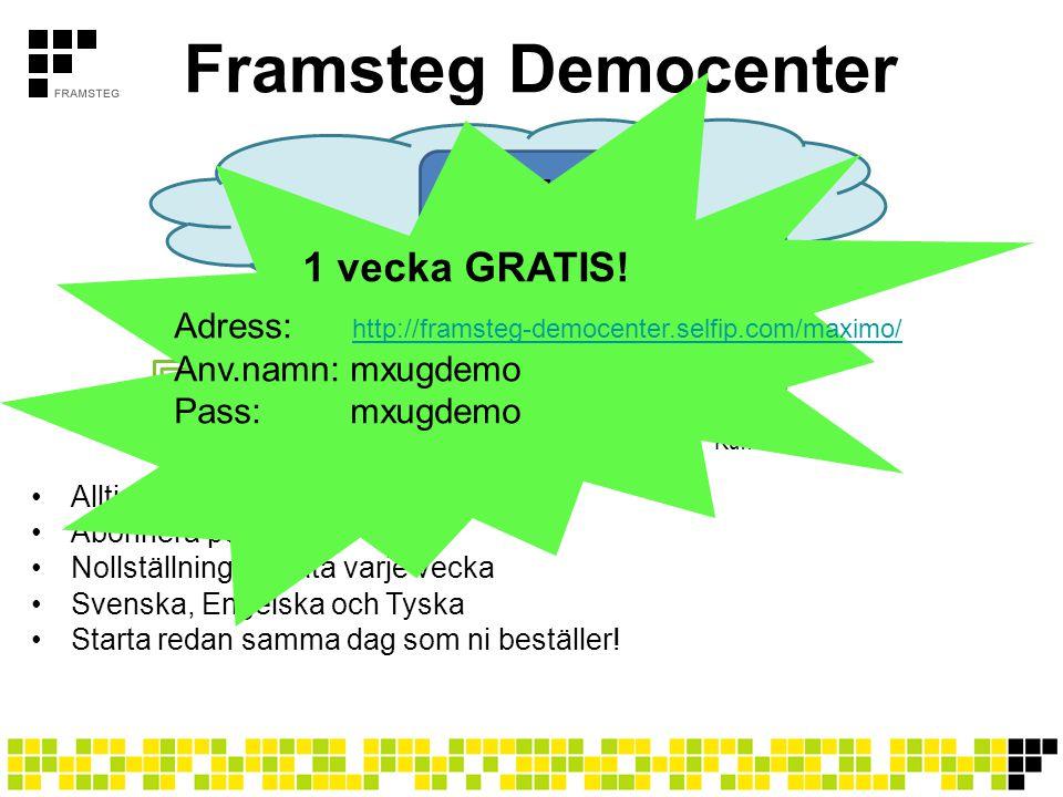 Framsteg Democenter •Alltid senaste versionen av Maximo •Abonnera per månad •Nollställning av data varje vecka •Svenska, Engelska och Tyska •Starta re