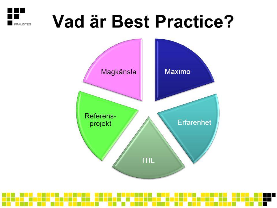 Vad är Best Practice? Maximo Erfarenhet ITIL Referens- projekt Magkänsla