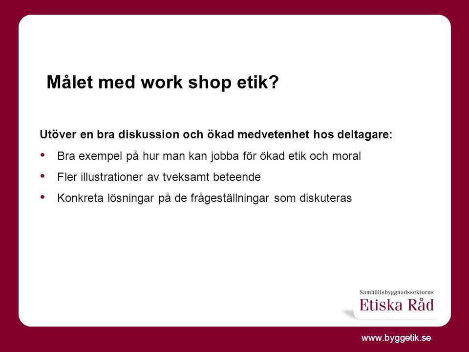 www.byggetik.se Etiska Rådets prioriterade frågor 2013 Vad.