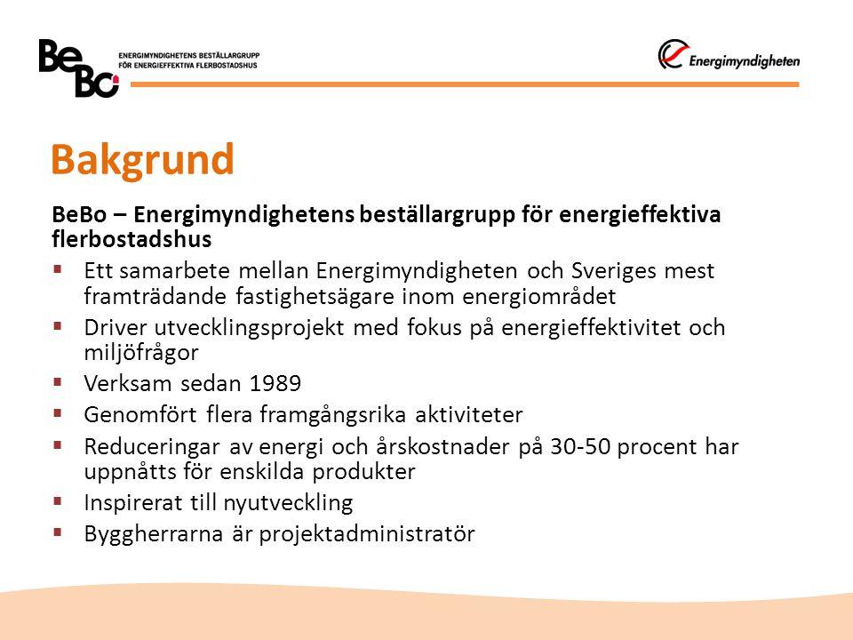 Bakgrund BeBo – Energimyndighetens beställargrupp för energieffektiva flerbostadshus  Ett samarbete mellan Energimyndigheten och Sveriges mest framtr