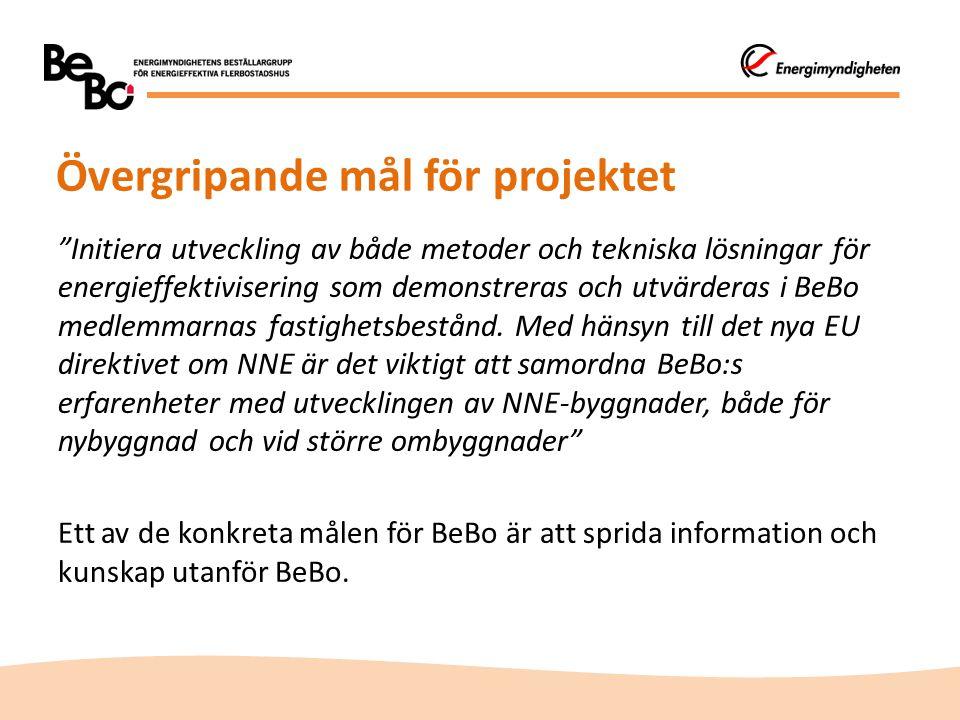 Kommunikationens syfte  Att sprida kännedom om BeBo och dess arbete  Att öka kännedom om de nationella miljömålen som omfattas av BeBo:s verksamhet  Att sprida BeBo:s erfarenheter och resultat utanför gruppens medlemmar så att energieffektiva system och produkter tidigare kan komma ut på marknaden  Att stödja projektet så att fler teknikupphandlingar och demonstrationsprojekt kan genomföras  Att främja nätverkande inom BeBo