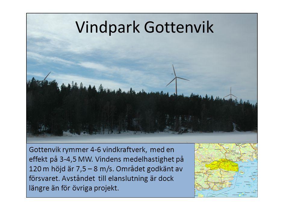 Vindpark Gottenvik Gottenvik rymmer 4-6 vindkraftverk, med en effekt på 3-4,5 MW. Vindens medelhastighet på 120 m höjd är 7,5 – 8 m/s. Området godkänt