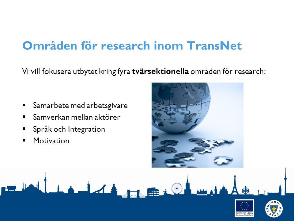 Områden för research inom TransNet Vi vill fokusera utbytet kring fyra tvärsektionella områden för research:  Samarbete med arbetsgivare  Samverkan mellan aktörer  Språk och Integration  Motivation SIDAN 4