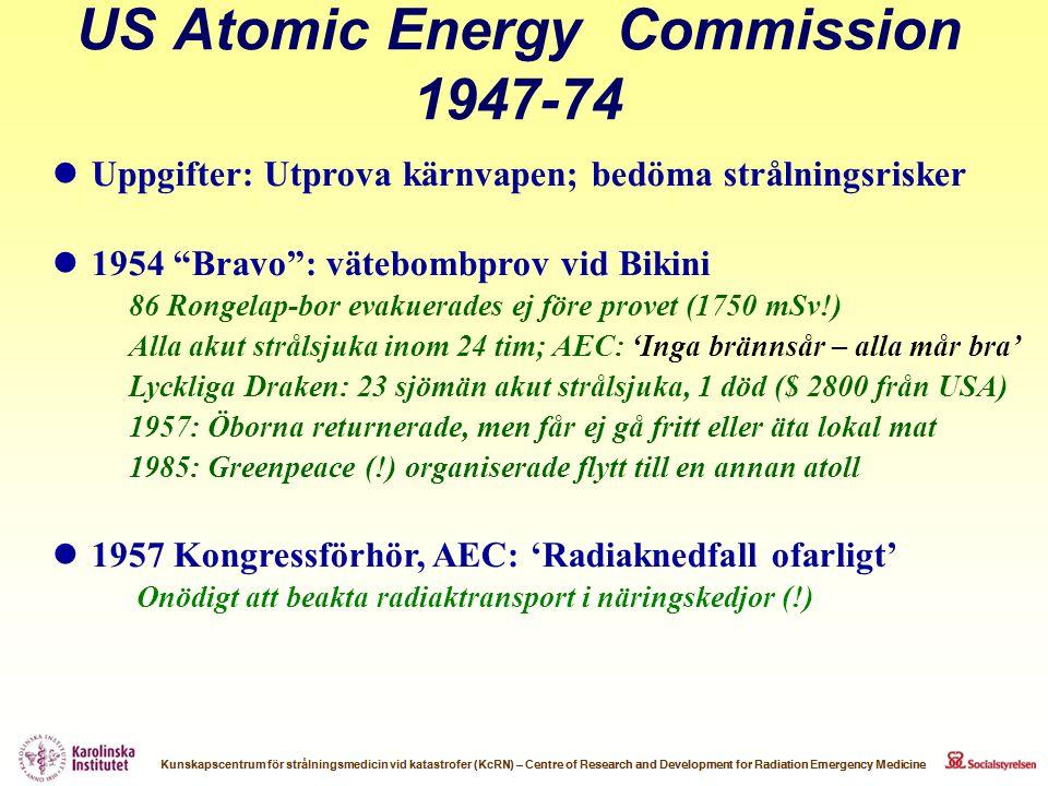 """US Atomic Energy Commission 1947-74  Uppgifter: Utprova kärnvapen; bedöma strålningsrisker  1954 """"Bravo"""": vätebombprov vid Bikini 86 Rongelap-bor ev"""