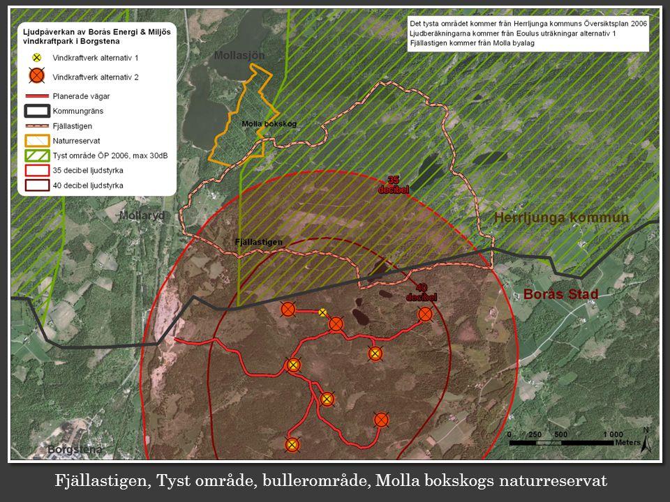 Fjällastigen, Tyst område, bullerområde, Molla bokskogs naturreservat