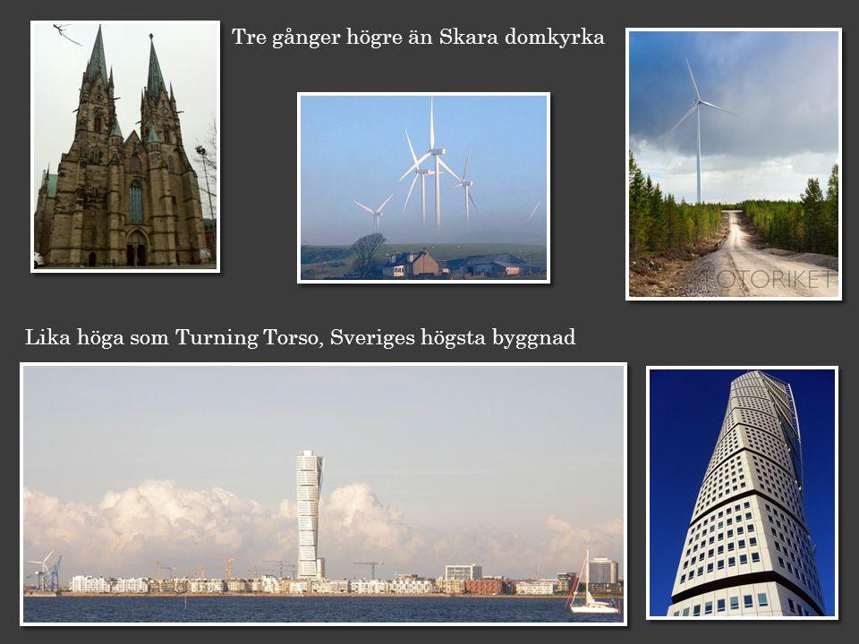 Lika höga som Turning Torso, Sveriges högsta byggnad Tre gånger högre än Skara domkyrka