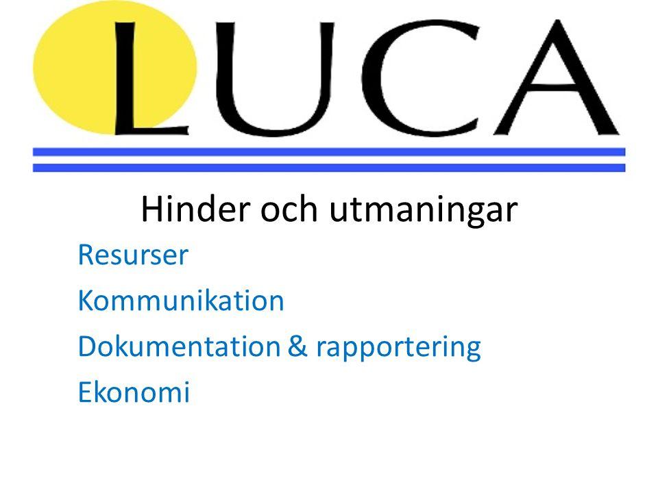 Hinder och utmaningar Resurser Kommunikation Dokumentation & rapportering Ekonomi