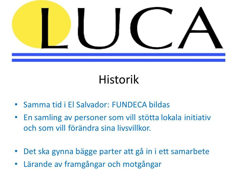 Historik • Samma tid i El Salvador: FUNDECA bildas • En samling av personer som vill stötta lokala initiativ och som vill förändra sina livsvillkor.