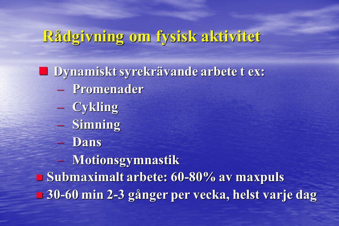 nDynamiskt syrekrävande arbete t ex: –Promenader –Cykling –Simning –Dans –Motionsgymnastik Rådgivning om fysisk aktivitet n Submaximalt arbete: 60-80%