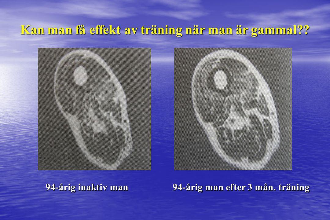 94-årig inaktiv man 94-årig man efter 3 mån. träning Kan man få effekt av träning när man är gammal??
