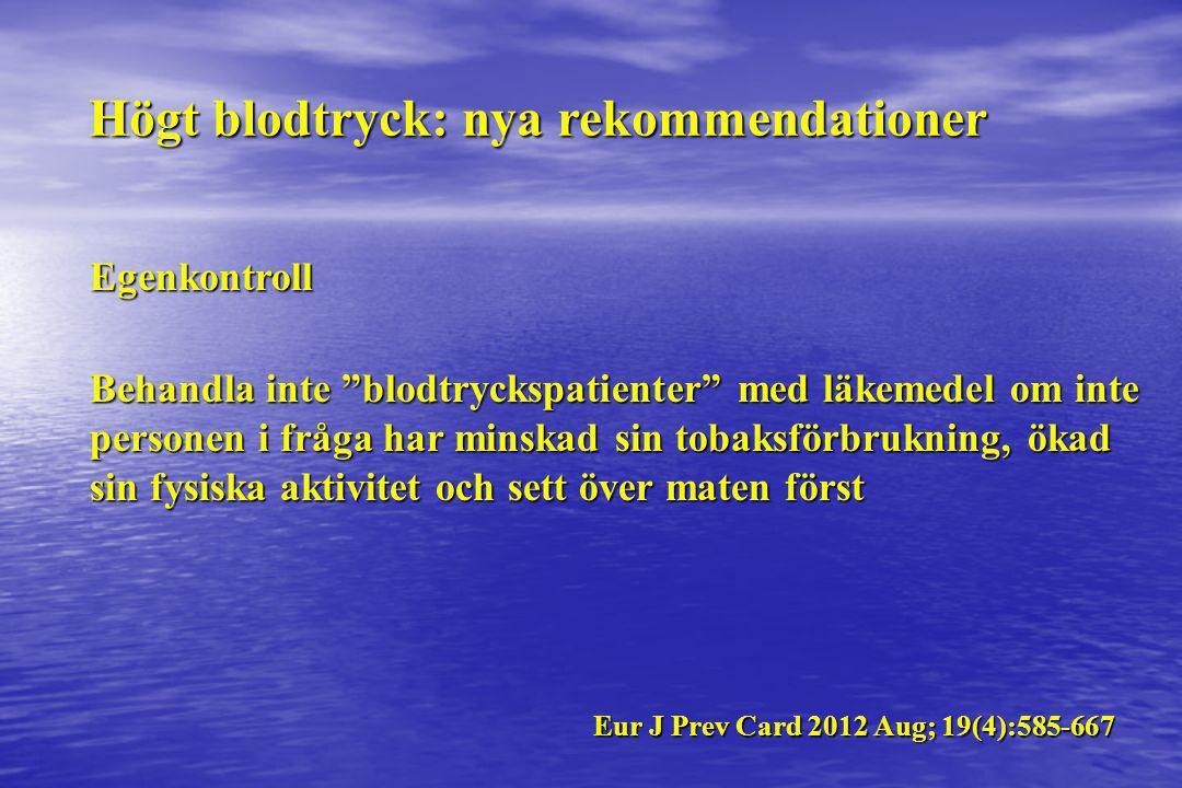 """Högt blodtryck: nya rekommendationer Egenkontroll Behandla inte """"blodtryckspatienter"""" med läkemedel om inte personen i fråga har minskad sin tobaksför"""