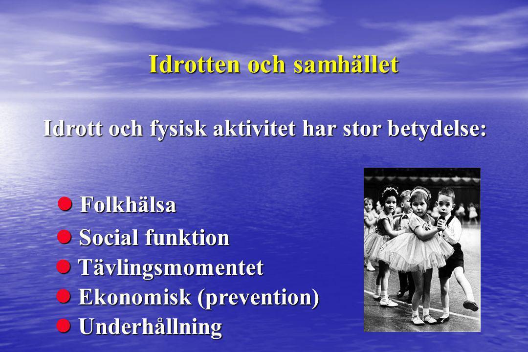 Idrott och fysisk aktivitet har stor betydelse: Idrotten och samhället  Social funktion  Folkhälsa  Ekonomisk (prevention)  Tävlingsmomentet  Und