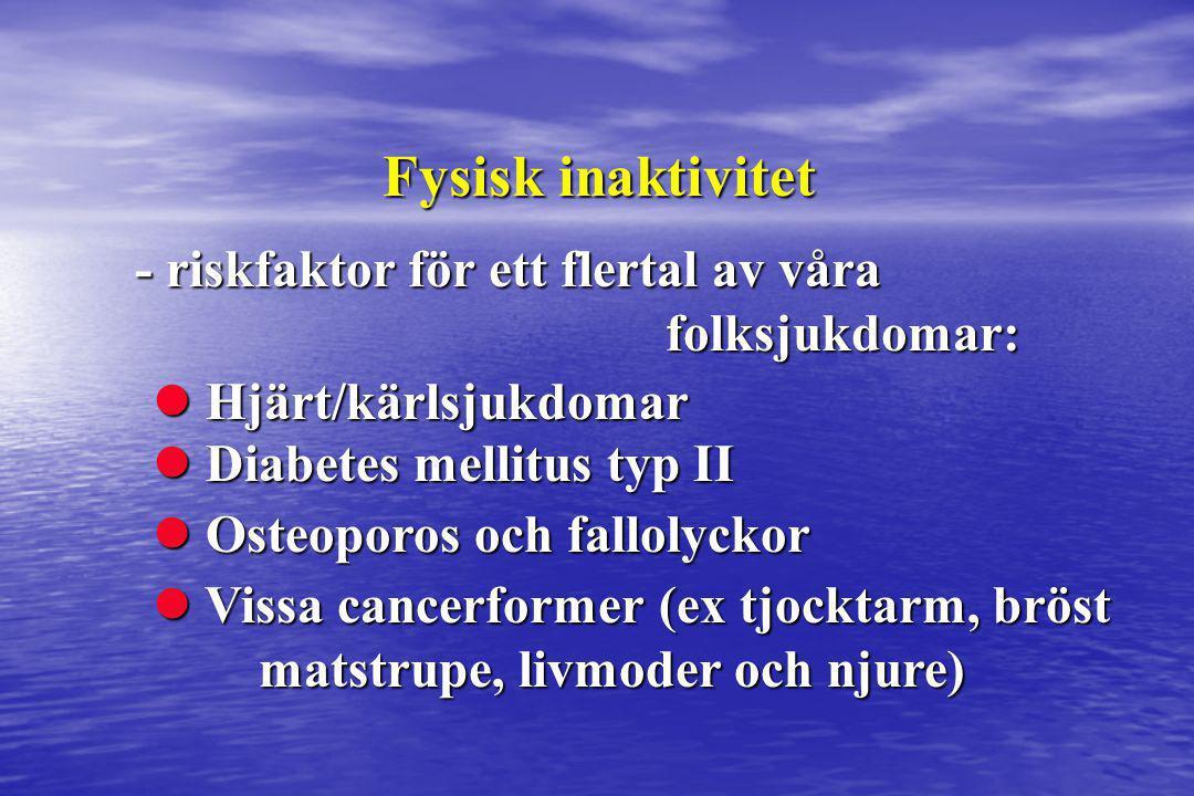 Fysisk inaktivitet - riskfaktor för ett flertal av våra folksjukdomar:  Vissa cancerformer (ex tjocktarm, bröst matstrupe, livmoder och njure)  Oste