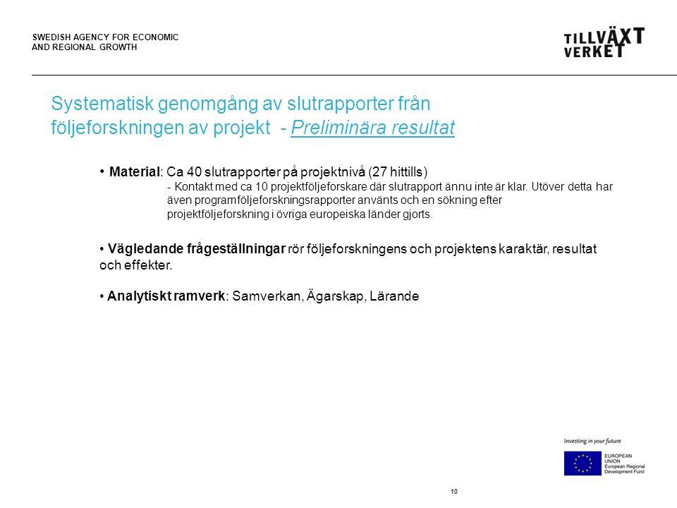 SWEDISH AGENCY FOR ECONOMIC AND REGIONAL GROWTH 10 • Material: Ca 40 slutrapporter på projektnivå (27 hittills) - Kontakt med ca 10 projektföljeforskare där slutrapport ännu inte är klar.