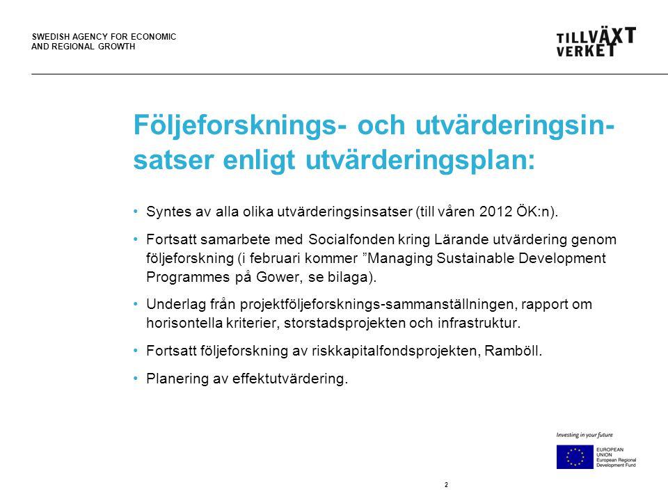 SWEDISH AGENCY FOR ECONOMIC AND REGIONAL GROWTH Följeforsknings- och utvärderingsin- satser enligt utvärderingsplan: •Syntes av alla olika utvärderingsinsatser (till våren 2012 ÖK:n).
