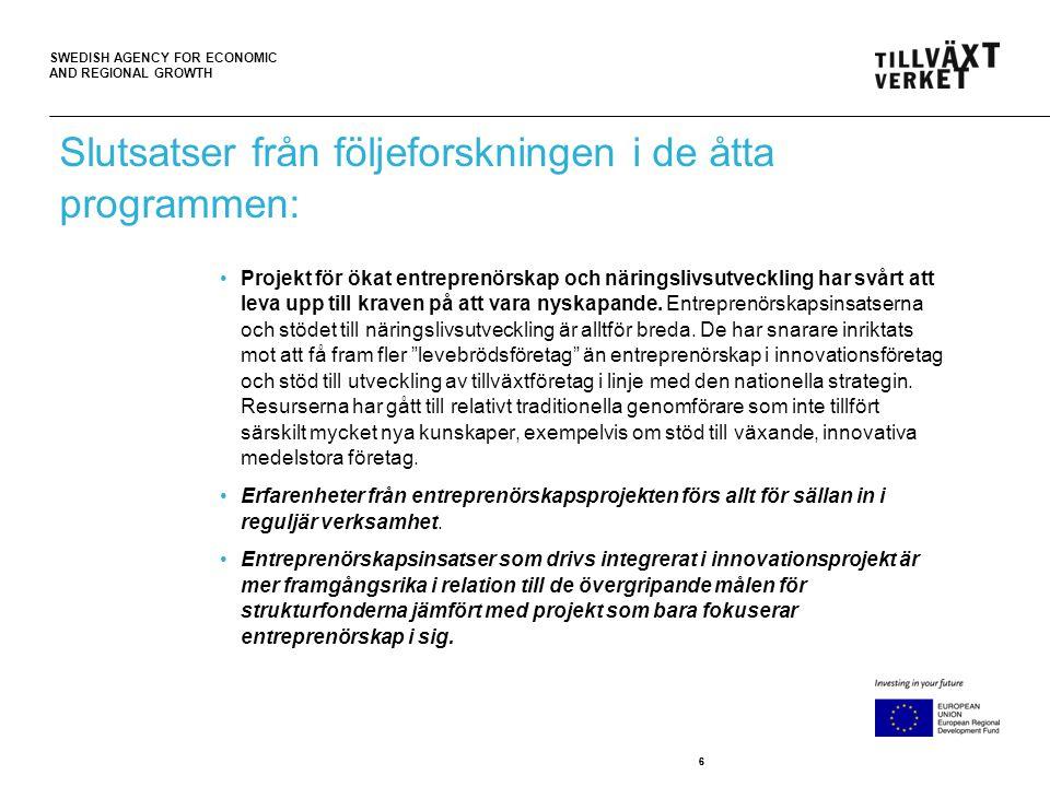 SWEDISH AGENCY FOR ECONOMIC AND REGIONAL GROWTH 77 •Insatser för ökad innovationskapacitet är mer nyskapande, experimenterande och framgångsrika.