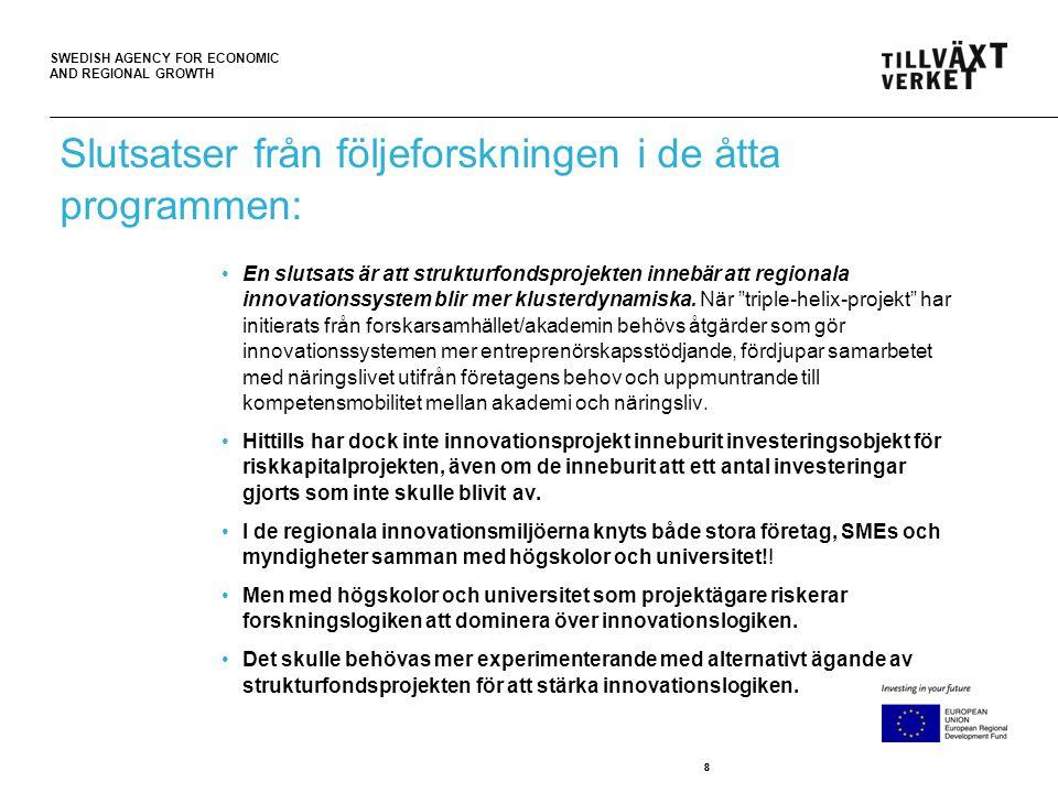 SWEDISH AGENCY FOR ECONOMIC AND REGIONAL GROWTH 19 •Projektet FindIT illustrerar hur det borde vara; den övergripande målsättningen är att bidra till konkurrenskraft i Gävleborgsregionen genom effektivare och smartare affärssystemlösningar.