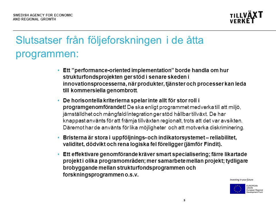 "SWEDISH AGENCY FOR ECONOMIC AND REGIONAL GROWTH 99 •Ett ""performance-oriented implementation"" borde handla om hur strukturfondsprojekten ger stöd i se"