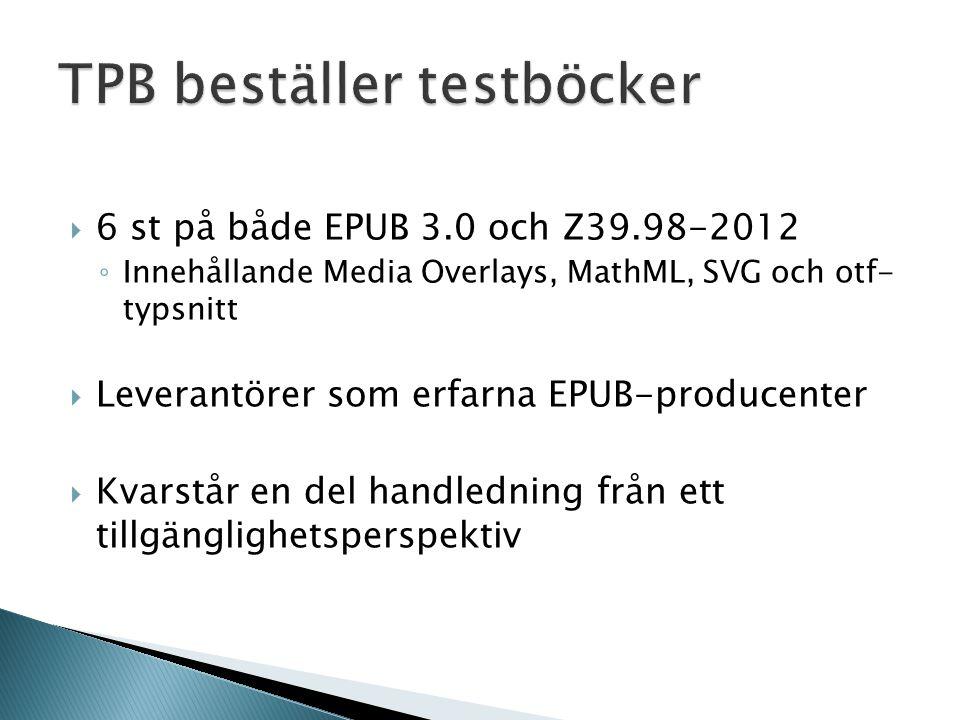  6 st på både EPUB 3.0 och Z39.98-2012 ◦ Innehållande Media Overlays, MathML, SVG och otf- typsnitt  Leverantörer som erfarna EPUB-producenter  Kvarstår en del handledning från ett tillgänglighetsperspektiv