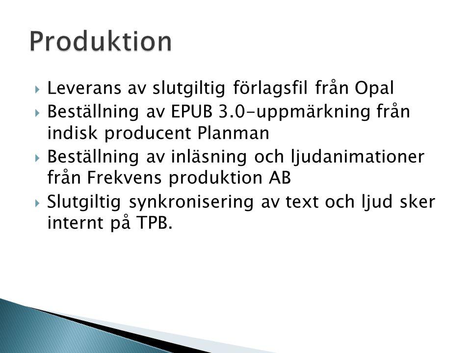  Leverans av slutgiltig förlagsfil från Opal  Beställning av EPUB 3.0-uppmärkning från indisk producent Planman  Beställning av inläsning och ljudanimationer från Frekvens produktion AB  Slutgiltig synkronisering av text och ljud sker internt på TPB.