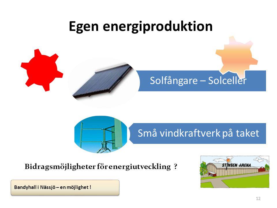 12 Egen energiproduktion Solfångare – Solceller Små vindkraftverk på taket Bidragsmöjligheter för energiutveckling ? Bandyhall i Nässjö – en möjlighet