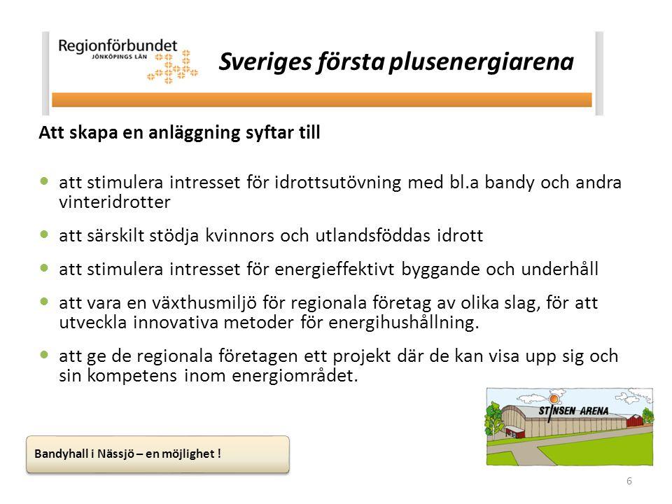 6 Sveriges första plusenergiarena Att skapa en anläggning syftar till  att stimulera intresset för idrottsutövning med bl.a bandy och andra vinteridr