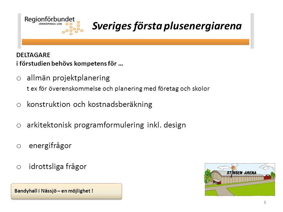 8 DELTAGARE i förstudien behövs kompetens för … o allmän projektplanering t ex för överenskommelse och planering med företag och skolor o konstruktion