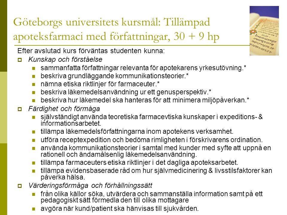 Göteborgs universitets kursmål: Tillämpad apoteksfarmaci med författningar, 30 + 9 hp Efter avslutad kurs förväntas studenten kunna:  Kunskap och förståelse  sammanfatta författningar relevanta för apotekarens yrkesutövning.*  beskriva grundläggande kommunikationsteorier.*  nämna etiska riktlinjer för farmaceuter.*  beskriva läkemedelsanvändning ur ett genusperspektiv.*  beskriva hur läkemedel ska hanteras för att minimera miljöpåverkan.*  Färdighet och förmåga  självständigt använda teoretiska farmacevtiska kunskaper i expeditions- & informationsarbetet.