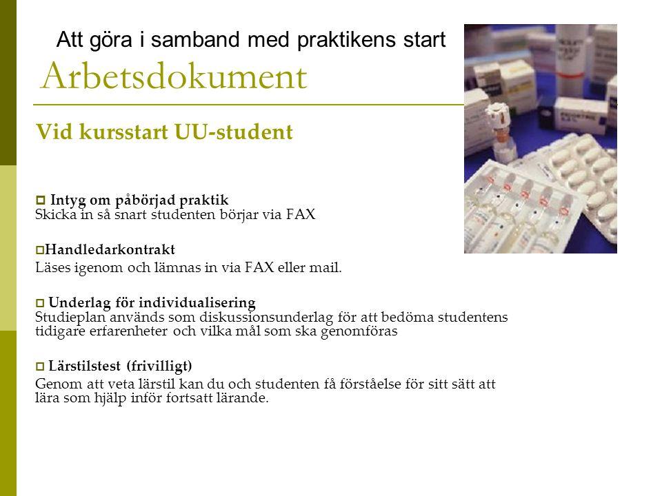 Arbetsdokument Vid kursstart UU-student  Intyg om påbörjad praktik Skicka in så snart studenten börjar via FAX  Handledarkontrakt Läses igenom och lämnas in via FAX eller mail.