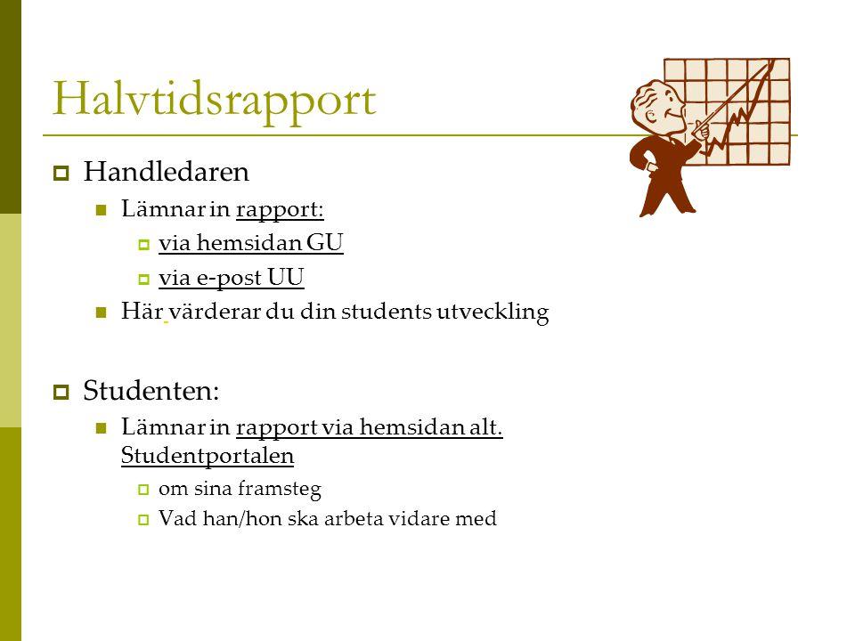 Halvtidsrapport  Handledaren  Lämnar in rapport:  via hemsidan GU  via e-post UU  Här värderar du din students utveckling  Studenten:  Lämnar in rapport via hemsidan alt.