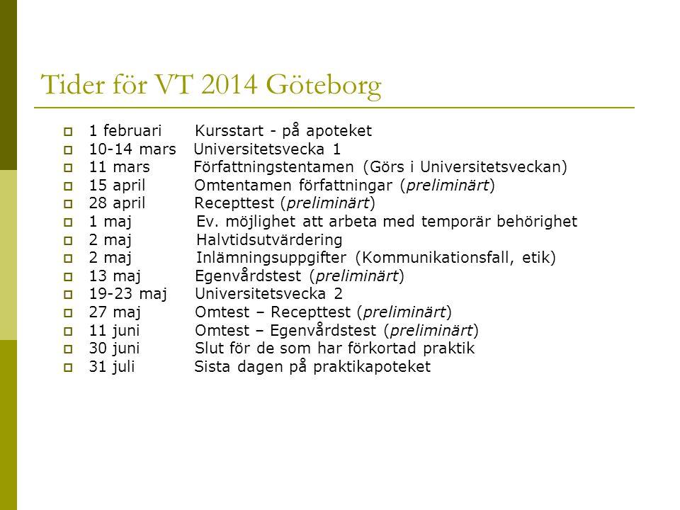 Tider för VT 2014 Göteborg  1 februari Kursstart - på apoteket  10-14 mars Universitetsvecka 1  11 mars Författningstentamen (Görs i Universitetsveckan)  15 april Omtentamen författningar (preliminärt)  28 april Recepttest (preliminärt)  1 maj Ev.