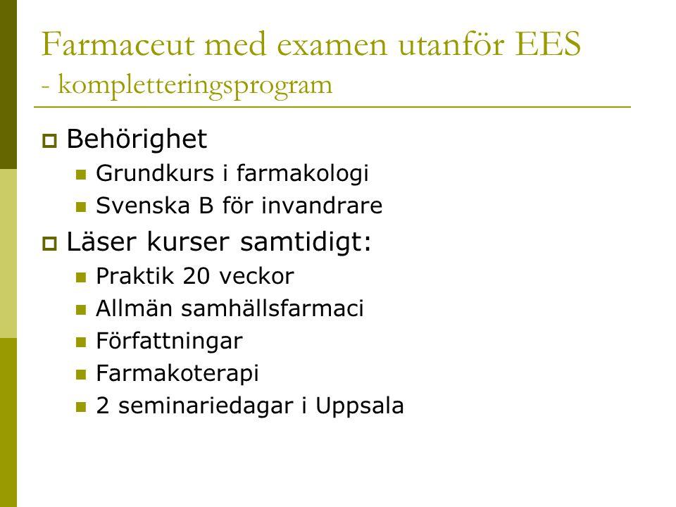Farmaceut med examen utanför EES - kompletteringsprogram  Behörighet  Grundkurs i farmakologi  Svenska B för invandrare  Läser kurser samtidigt:  Praktik 20 veckor  Allmän samhällsfarmaci  Författningar  Farmakoterapi  2 seminariedagar i Uppsala