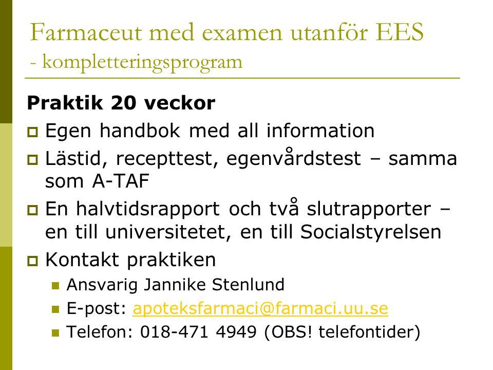 Farmaceut med examen utanför EES - kompletteringsprogram Praktik 20 veckor  Egen handbok med all information  Lästid, recepttest, egenvårdstest – samma som A-TAF  En halvtidsrapport och två slutrapporter – en till universitetet, en till Socialstyrelsen  Kontakt praktiken  Ansvarig Jannike Stenlund  E-post: apoteksfarmaci@farmaci.uu.seapoteksfarmaci@farmaci.uu.se  Telefon: 018-471 4949 (OBS.