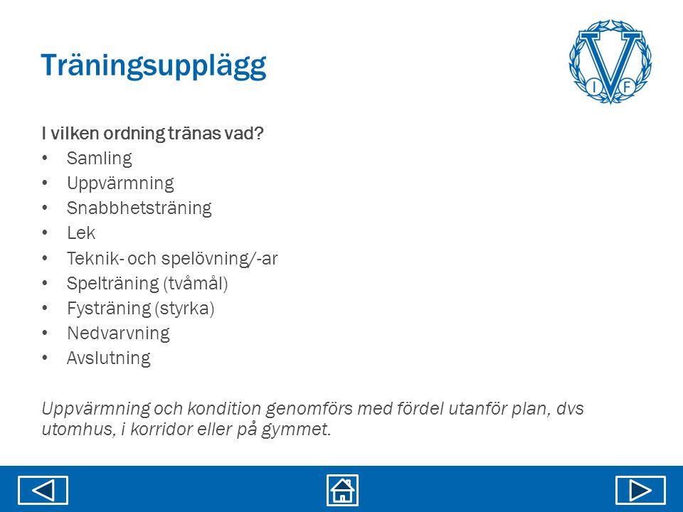 I vilken ordning tränas vad? • Samling • Uppvärmning • Snabbhetsträning • Lek • Teknik- och spelövning/-ar • Spelträning (tvåmål) • Fysträning (styrka